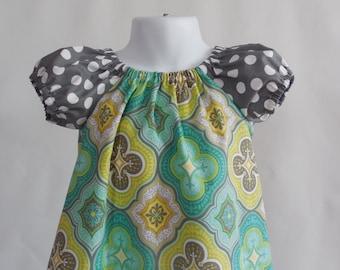 Girl's Infants Toddlers Peasant Dress  - Fresh Colors - Aqua and Gray