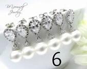 6 Bridesmaid Earrings Pearl Bridal Earrings Bridesmaid Gift Wedding Jewelry Bride Earrings Swarovski Pearls CZ Crystal Earrings 15% Discount