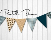 INSTANT DOWNLOAD - Printable Flag Banner for Parties, Photo Prop, Nursery, Baby Shower - Preppy Tangerine
