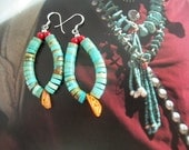 SALE Turquoise Heishi Earrings Native American Navajo Jaclas Hoop Earrings Spiney Oyster Shell Red Jade Beads Southwest Traditoinal Jewelry