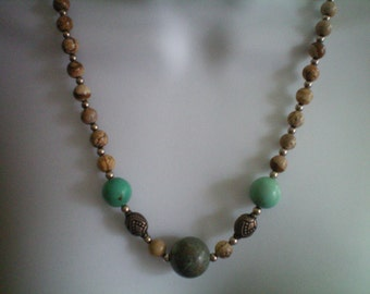 Vintage Judie Ingram Picture Jasper and Turquoise Necklace