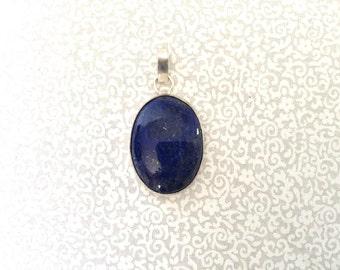Lapis pendant/ oval shape lapis/ silver dipped pendant