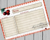 Cherry Recipe Cards 3x5 Printable 4x6 Recipe Card Country Kitchen 3.5x5 Red Gingham Cherries