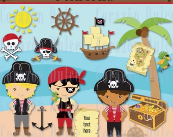 Pirate-Boy- Personal and Commercial Use Clip Art and Digital papers:Originals design elements-INSTANT DOWNLOAD