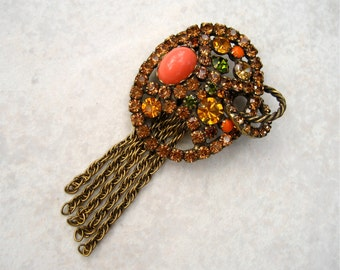Vintage Rhinestone Brooch Coral Lucite Cabochon Earth Tones Chain Tassels Alice Caviness
