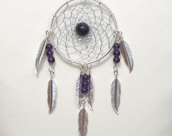 Dream Catcher Amethyst & Silver Dreamcatcher Necklace with Feathers large