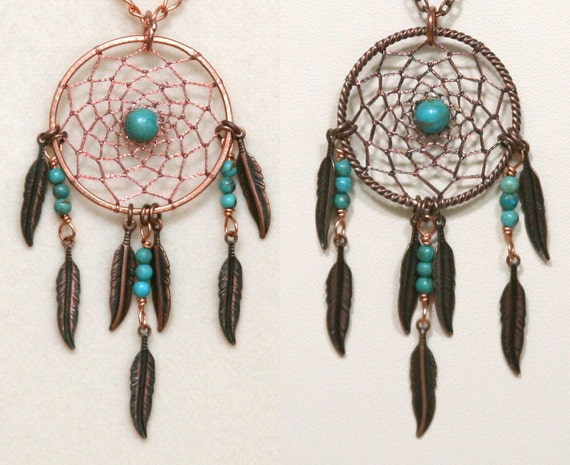 Dream Catcher Turquoise & Copper Dreamcatcher Necklace with Feathers