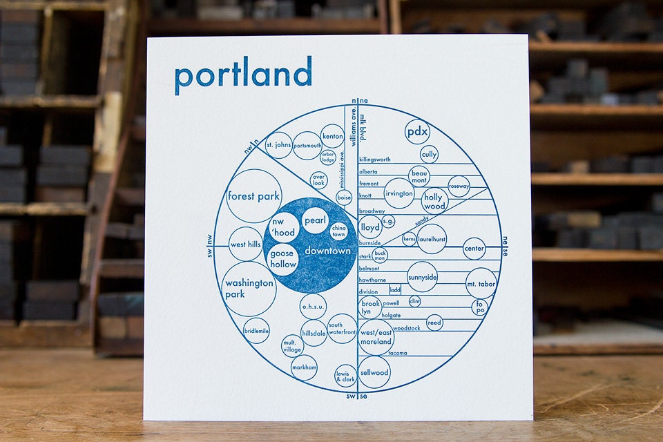 Letterpressed circle map of portland in 4 colors by for Ikea portland directions