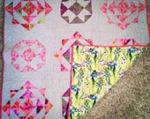 Pink, Purple, and Grey patchwork baby quilt