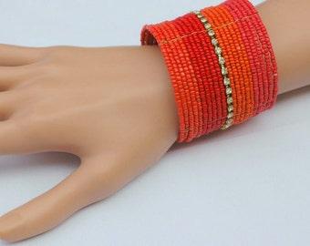 Chunky Bracelet, Cuff Bracelet, Red Orange Cuff Bracelet, Gift for her, Wide bracelet, Summer Color