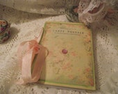 Spring Carte Postale  Journal Pastel Green   Background  And Pink Roses  Pink Glitter Stone Pastel Pink Seam Binding Ribbon
