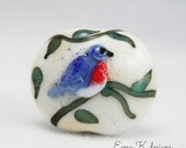 Bluebird bead handmade lampwork bead by Ema Kilroy of Ema K designs sra bird blue focal scrolls vines artbead