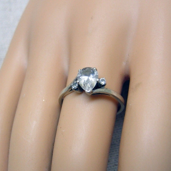 Teardrop Shape Cubic Zirconia Engagement Ring Size 7 75 by PandPF