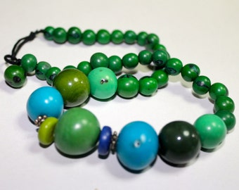 Tagua and Acai Seed Necklace/ Eco Friendly Jewelry/Green Necklace, Boho Jewelry, Boho chic