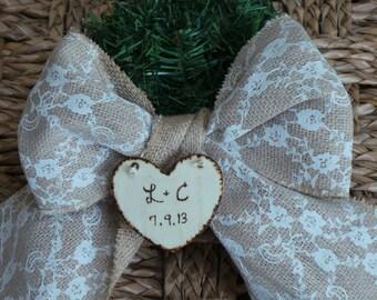 Engagement Christmas Ornaments, Wood & Burlap Ornament