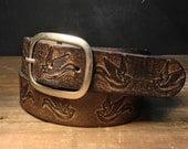 Leather belt - Sparrow Vintage Aged Leather belt - embossed sparrow snap belt  Handmade in USA