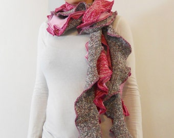 ecofriendly scarf made of Repurposed Sweaters Scarf pink scarf patchwork gifts for her ruffle scarf long scarf winter scarf knit scarves