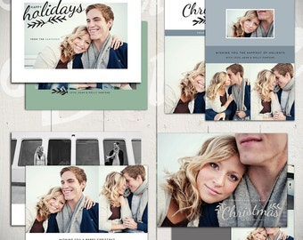 Christmas Card Templates: Evergreen - Set of Four 5x7 Holiday Card Templates for Photographers