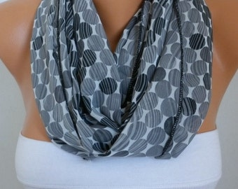 Gray Tones Infinity Scarf, Summer Scarf Chiffon Circle Loop Scarf Cowl Gift Ideas For Her Women's Fashion Accessories Teacher  Gift