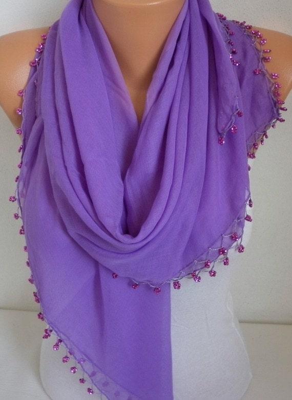 Lilac Turkish Scarf Spring Scarf Lavender  Cotton Scarf Cowl Scarf Shawl with Bead Edge Women Fashion Accessories