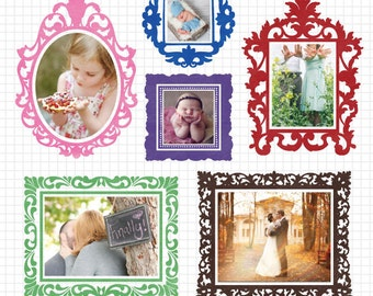 Digital Frame Photoshop Template for Commercial Use - Filigree Borders