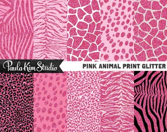 Pink Animal Print Digital Paper, Animal Pattern Digital Paper Pack,  Glitter Digital Paper Instant Download, Leopard Print