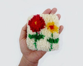 Vintage Handwoven Tapestry Pin Cushion with Flowers