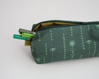 Emerald Flower Zipper Pouch. Small Pencil Case. Large Makeup Bag. Back to School. Fabric Design. Cosmetic Bag. Botanical Print.