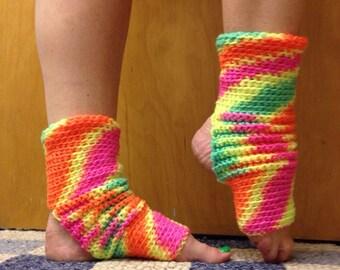Yoga Socks in Day Glow Green Pink Orange Yellow Acrlic -- for Dance, Yoga, Pedicures, Pilates.