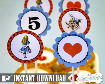 Alice in Wonderland Party Circles/Cupcake Toppers - INSTANT DOWNLOAD - Editable & Printable Birthday Decorations by Sassaby