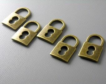CHARM-AB-LK19MM - Antique Bronze Lock Charms...6 pcs
