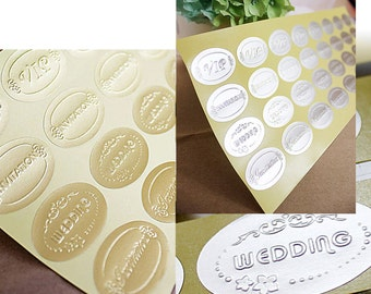 50 GOLD / SILVER Embossed Wedding Stickers Envelope Seals