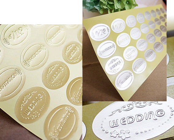 50 gold silver embossed wedding stickers envelope seals