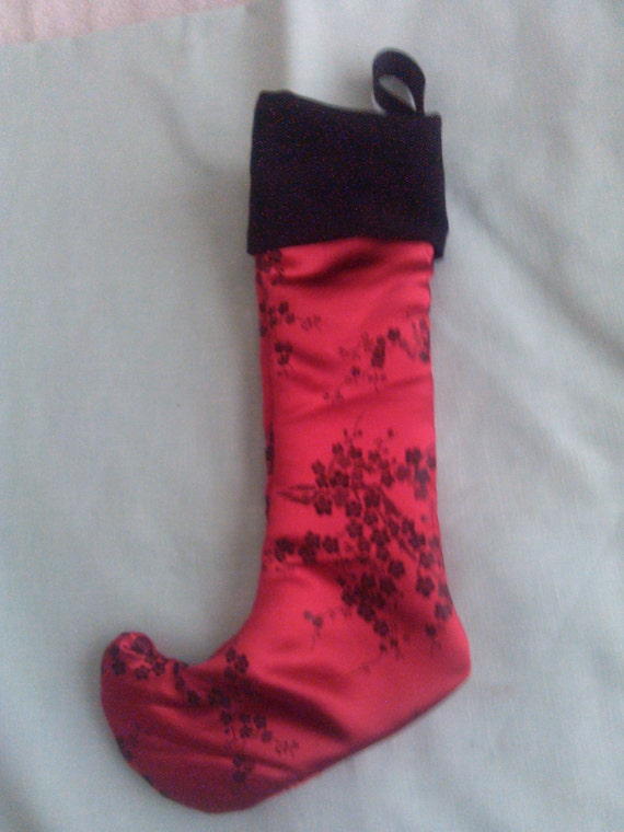 Fancy Toe Stocking Red With Black Cherry Blossoms By