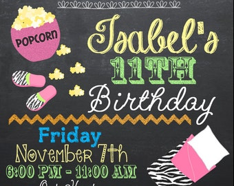 Customized Chalkboard Sleepover - Slumber Party Invitations