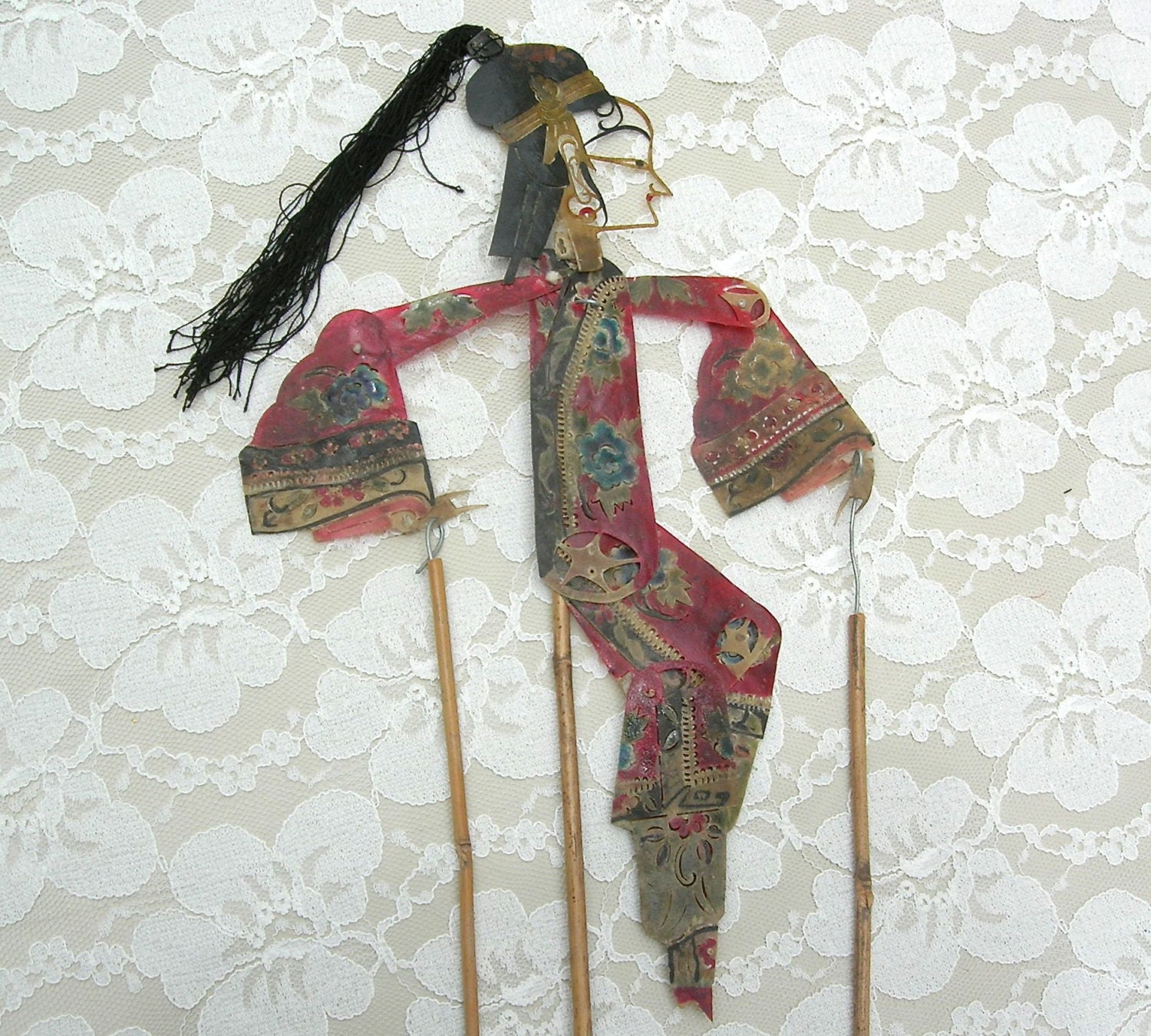 Rare Antique Chinese Mandarin Shadow Stick Puppet Elegant
