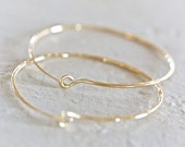 Hoops - 2 Inch Hammered Gold Dust Hoops - Unique, Hand Hammered, Cute, Everyday Wearable, Spring Fashion, Fresh Finds