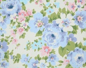 Vintage Wallpaper by the Yard 70s Retro Wallpaper - 1970s Periwinkle Blue Roses and Pink Flowers on White