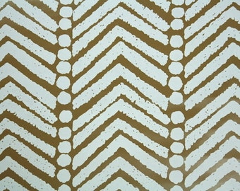 Retro Wallpaper by the Yard 70s Vintage Wallpaper - 1970s Vinyl White and Brown Tribal Geometric