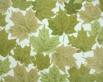 Retro Wallpaper by the Yard 60s Vintage Wallpaper - 1960s Green Leaves Botanical