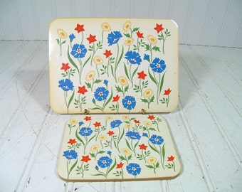 Vintage Red Blue Yellow Floral 2 Piece Trivet Boards Coaster Set - Retro Bouquet Pimpernel Style Cork Hot Pads - Mid Century Garden Decor