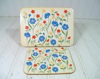 Vintage Red Blue Yellow Floral 2 Piece Trivet Boards Coaster Set - Retro Bouquet Pimpernel Style Cork Hot Pads - Mid Century Garden Decor