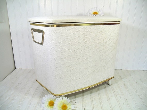 Hollywood Regency White & Gold Boudoir Hamper Vintage