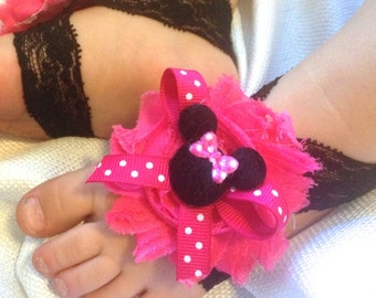 Minnie Mouse Barefoot baby sandals- Hot Pink