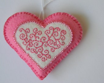 embroidered and beaded small bright pink felt heart