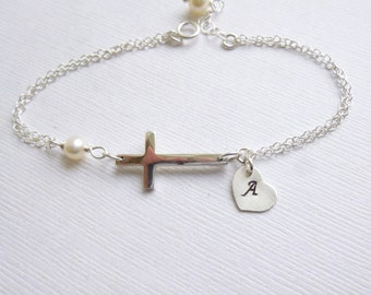 Sterling Silver Large Sideways Cross with Initial Bracelet... Pearl or Birthstone of Your Choice