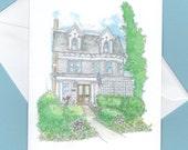 custom house drawing notecards