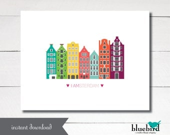 Instant Download Printable I AMSTERDAM Dutch city greeting card size A2 4.25x5.5