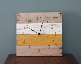 PALLET wood clock.  Ivory & Mustard Reclaimed wood clock.  Hip.  Rustic.  CUSTOM.  wall clock