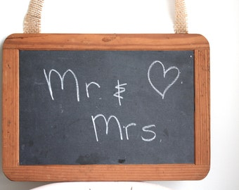 Vintage Chalkboard Wedding Decor Mr. and Mrs.